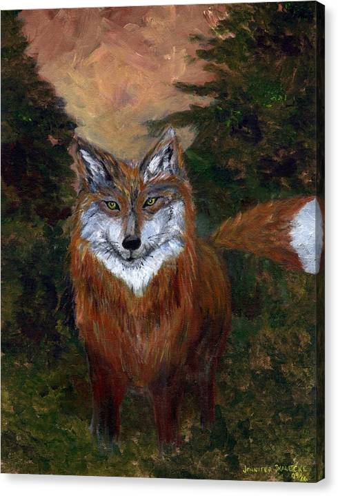 Foxes Canvas Print featuring the painting Red Fox - www.jennifer-d-art.com by Jennifer Skalecke