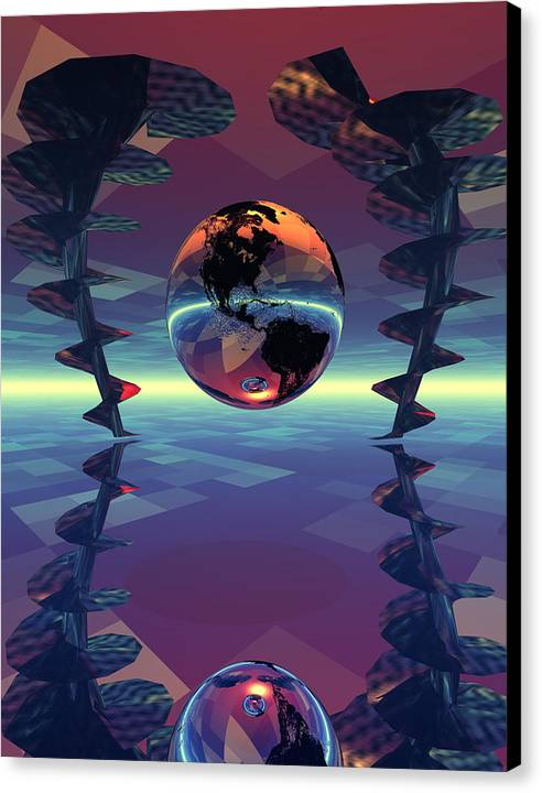 Bryce 3d Digital Fantasy Scifi Canvas Print featuring the digital art Trapped Between Attractors by Claude McCoy