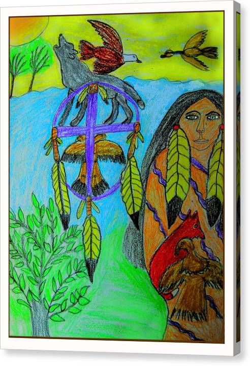 Dream Catchers Canvas Print featuring the drawing Natural Dream Catcher by Betty J Roberts
