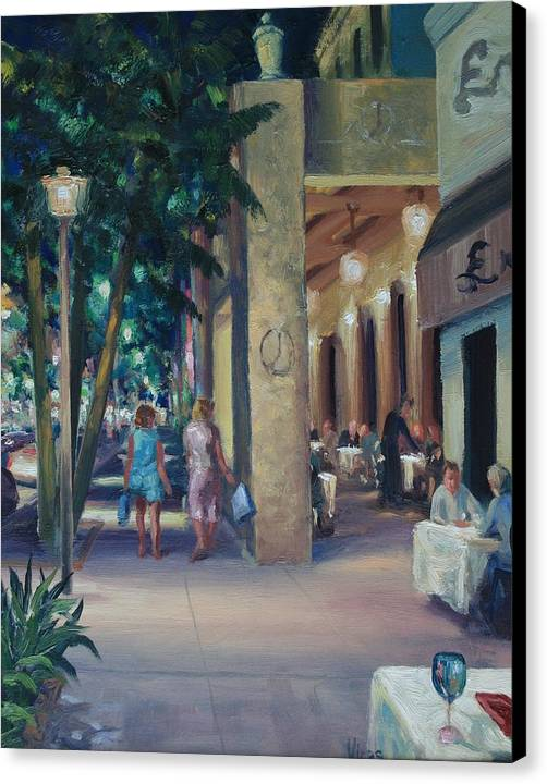 Cityscape Canvas Print featuring the painting Night Shoppers by Michael Vires