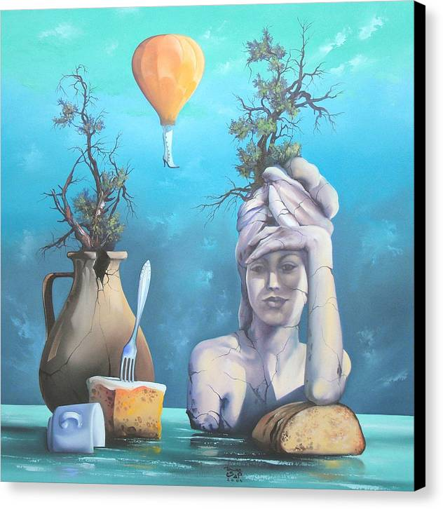Canvas Print featuring the painting Archaic Breakfast by Zoltan Ducsai