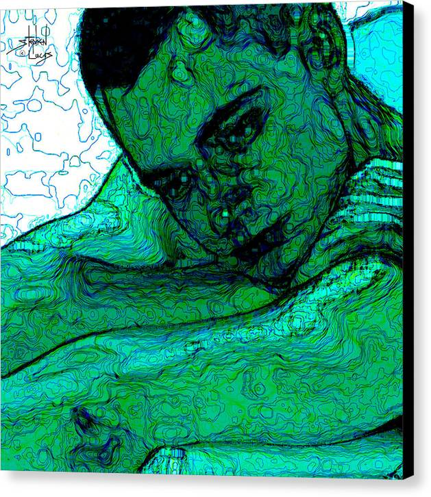 Abstract Canvas Print featuring the digital art Turquoise Man by Stephen Lucas