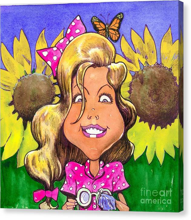 Kids Canvas Print featuring the painting Amelia In Sunflowers by Robert Myers