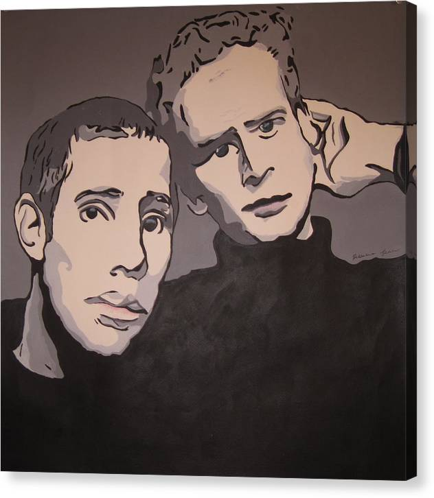 Paul Simon Canvas Print featuring the painting Bookends by Rebecca Jankowitz