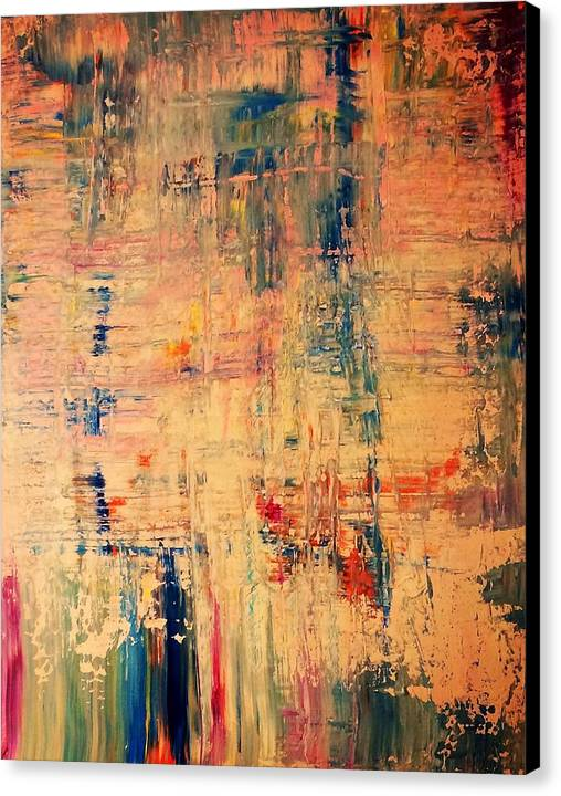 Colours Summer Preppy Drop Lines Cross Mexican Abstract Art Rainbow Canvas Print featuring the painting No Drop by Cristian Alvarez