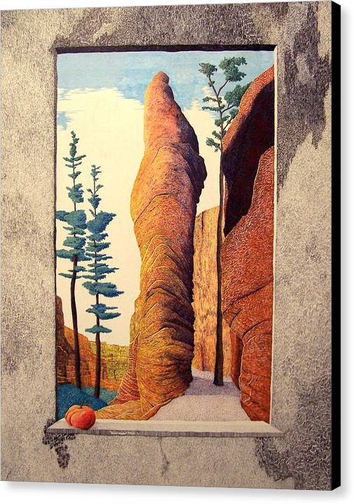 Landscape Canvas Print featuring the painting Reared Window by A Robert Malcom