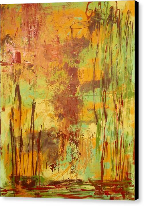 Abstract Canvas Print featuring the painting Liquid Bronze by Maritza Bermudez