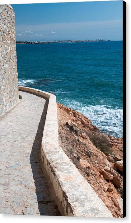 Edgy Pathway Along The Mediterranean Sea. Canvas Print featuring the photograph Edgy Pathway by Ingela Christina Rahm