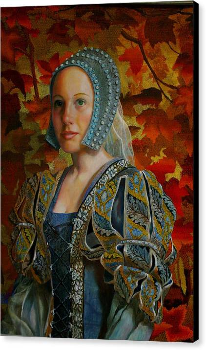 Costume Lady Canvas Print featuring the painting Automne Tapisserie by RC Bailey