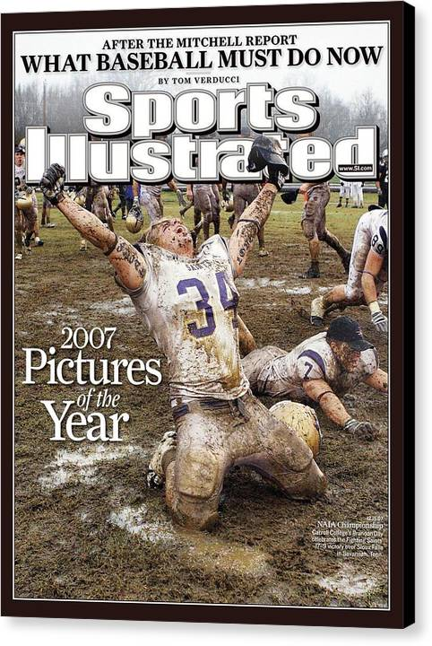Magazine Cover Canvas Print featuring the photograph Carroll College Brandon Day, 2007 Naia National Football Sports Illustrated Cover by Sports Illustrated