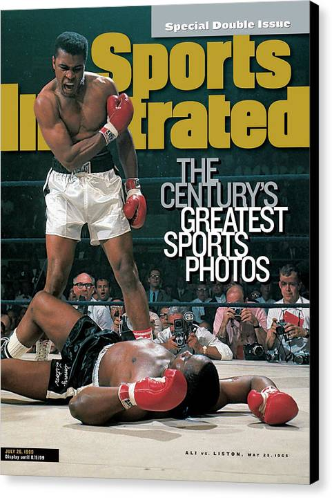 Magazine Cover Canvas Print featuring the photograph Muhammad Ali, 1965 World Heavyweight Title Sports Illustrated Cover by Sports Illustrated