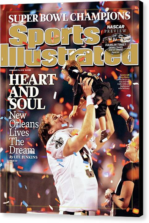 Magazine Cover Canvas Print featuring the photograph New Orleans Saints Qb Drew Brees, Super Bowl Xliv Sports Illustrated Cover by Sports Illustrated