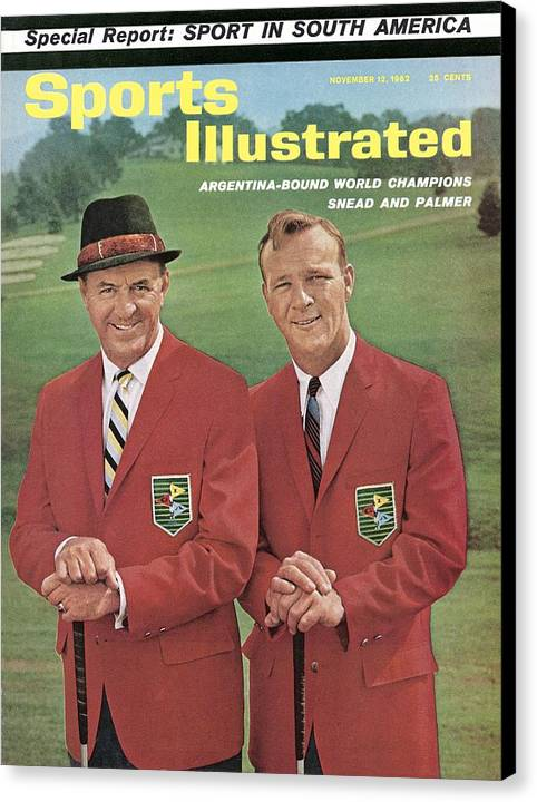 Magazine Cover Canvas Print featuring the photograph Sam Snead And Arnold Palmer, International Golf Sports Illustrated Cover by Sports Illustrated