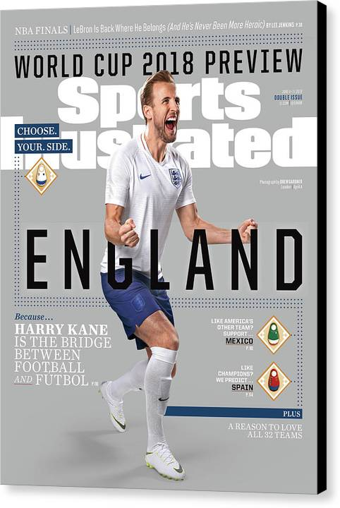 Magazine Cover Canvas Print featuring the photograph Team England Harry Kane, World Cup 2018 Preview Sports Illustrated Cover by Sports Illustrated