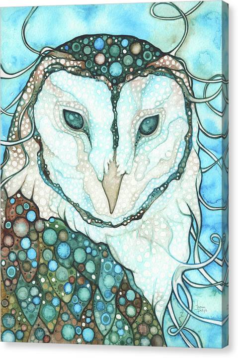 Barn Owl Canvas Print featuring the painting Starlit Owl by Tamara Phillips