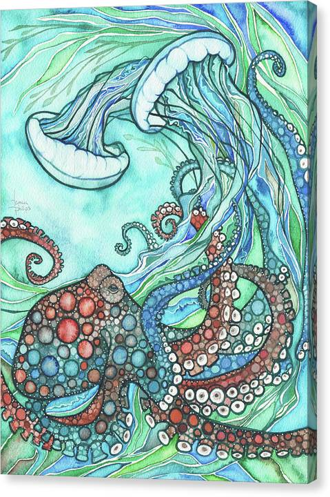 Ocean Canvas Print featuring the painting Octopus and Jellyfish by Tamara Phillips