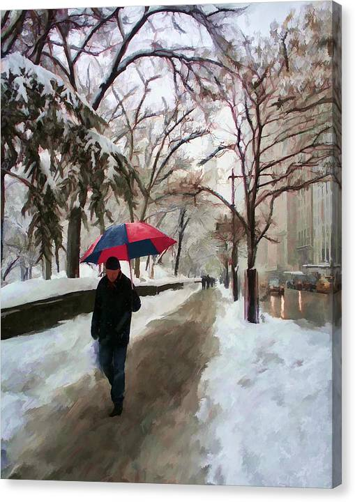 Limited Time Promotion: Snowfall In Central Park Stretched Canvas Print