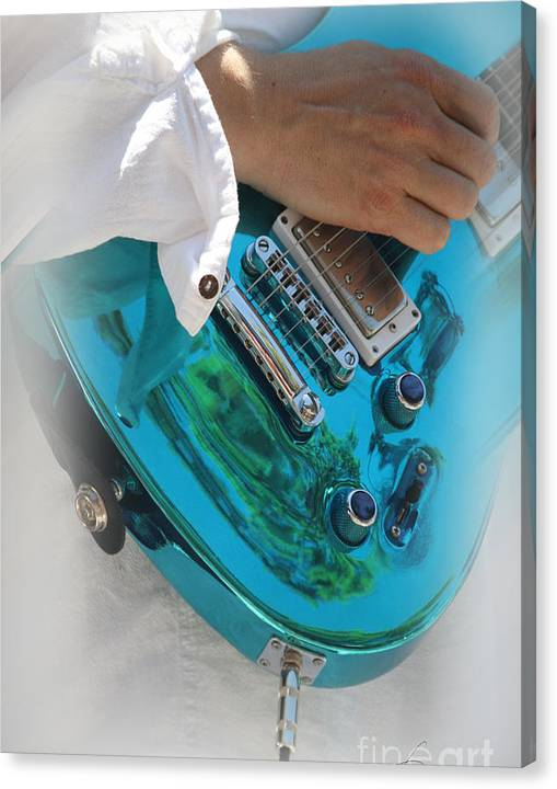 Limited Time Promotion:  Blue Guitar Stretched Canvas Print
