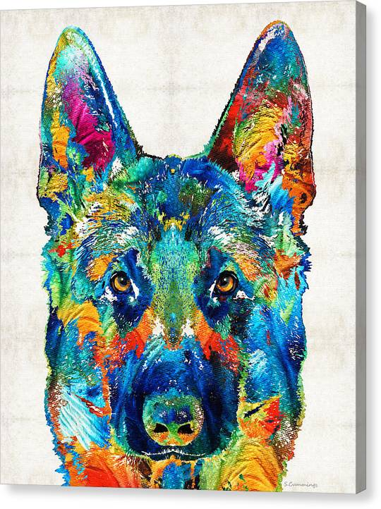 Limited Time Promotion: Colorful German Shepherd Dog Art By Sharon Cummings Stretched Canvas Print