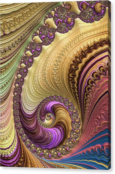 Limited Time Promotion: Luxe Colorful Fractal Spiral Stretched Canvas Print
