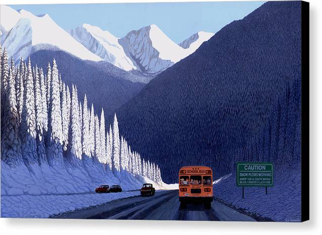 People Canvas Print featuring the painting A Winter Drive In British Columbia by Neil Woodward