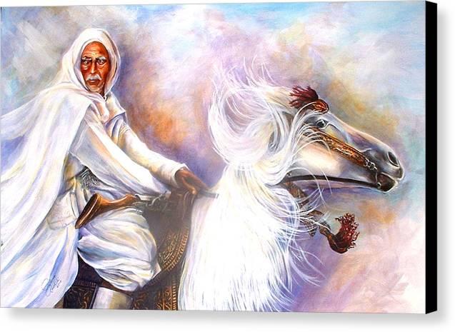Portrait Canvas Print featuring the painting Moroccan Man Riding Arabian Stallion by Patricia Rachidi