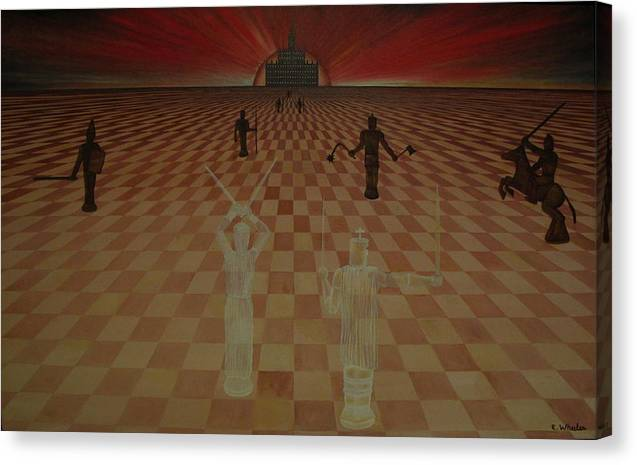 Chess Canvas Print featuring the painting The Final Defense by Edward Wheeler