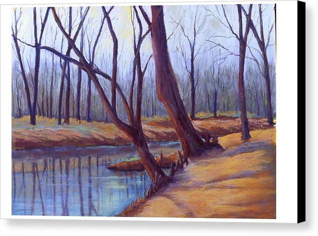 Landscape Canvas Print featuring the painting Cypress Trees by MaryAnn Stafford