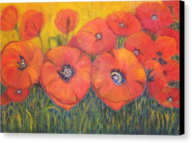 Poppies Canvas Print featuring the painting Poppies For My Sister by Patricia Ortman