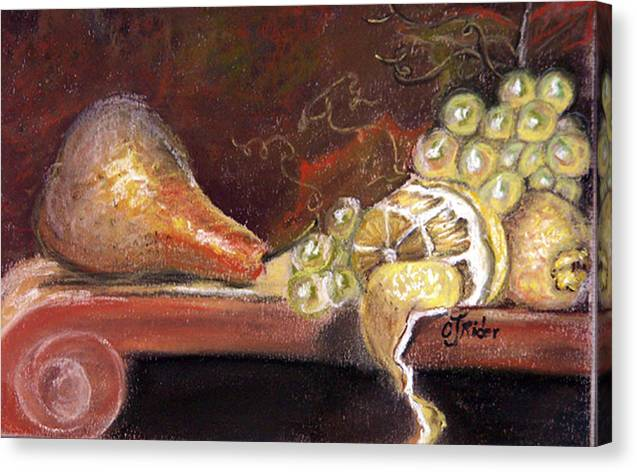 Pear Canvas Print featuring the pastel Pear by CJ Rider