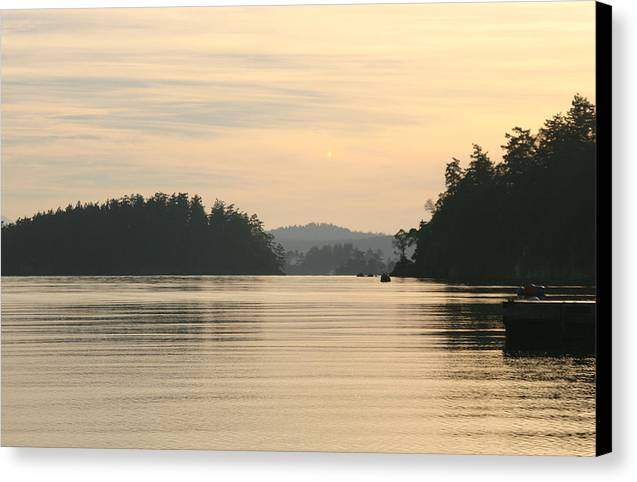 Sunset Canvas Print featuring the photograph Golden Waters by Doug Johnson
