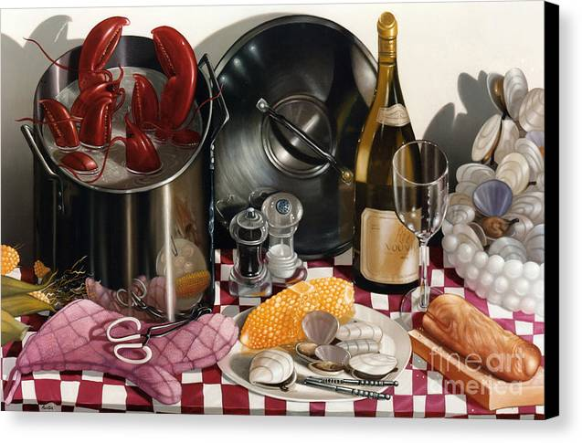 Lobsters Canvas Print featuring the painting Seafood Serenade 1996 Skewed Perspective Series 1991 - 2000 by Larry Preston