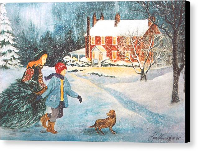 Winter;snow;christmas Tree;children;dog;brick House;farm House; Canvas Print featuring the painting Bringing In The Tree by Lois Mountz
