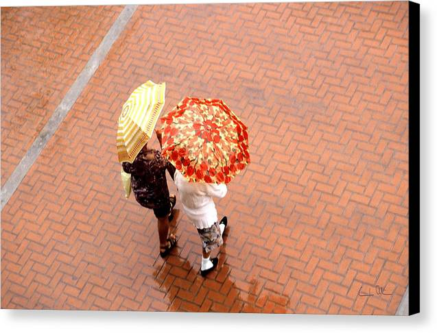 Rain Canvas Print featuring the photograph Chatting In The Rain - Umbrellas Series 1 by Carlos Alvim