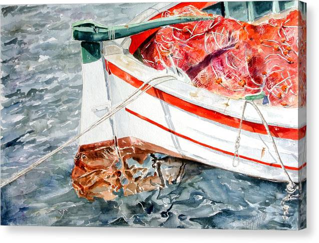 Boats Canvas Print featuring the painting Matricola 2ca 970 by Giovanni Marco Sassu