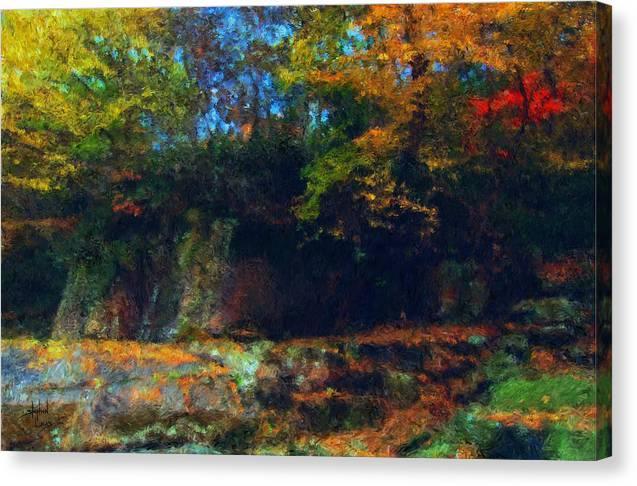 Autumn Canvas Print featuring the digital art Bursting Autumn Cheer by Stephen Lucas