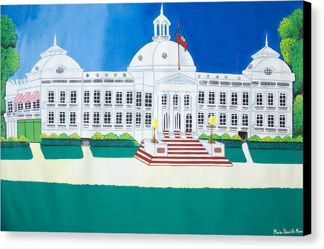 Canvas Print featuring the drawing Haitian Palace by Volmar Etienne