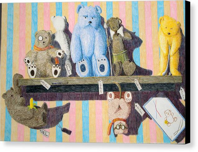 Still Life Canvas Print featuring the painting Bearly There by A Robert Malcom