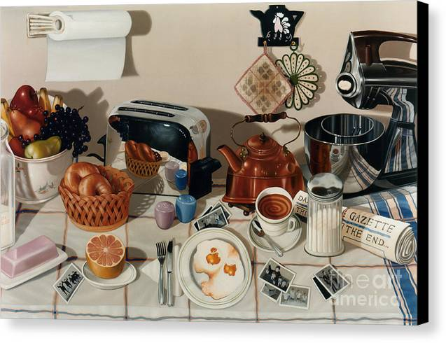 Still Life Canvas Print featuring the painting Breakfast With The Beatles - Skewed Perspective Series by Larry Preston