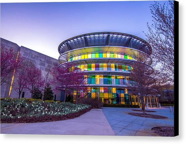 Indiana Canvas Print featuring the photograph Indianapolis Museum Of Art Blue Hour Lights by David Haskett