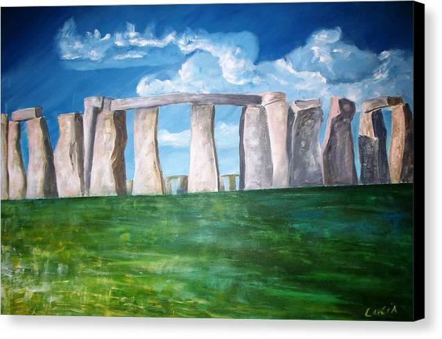 Stonehenge. Uk. Britain. Canvas Print featuring the print Stonehenge by Carl Lucia