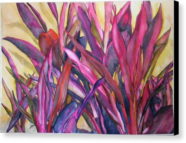Floral Canvas Print featuring the painting Cancun Fires by Diane Ziemski