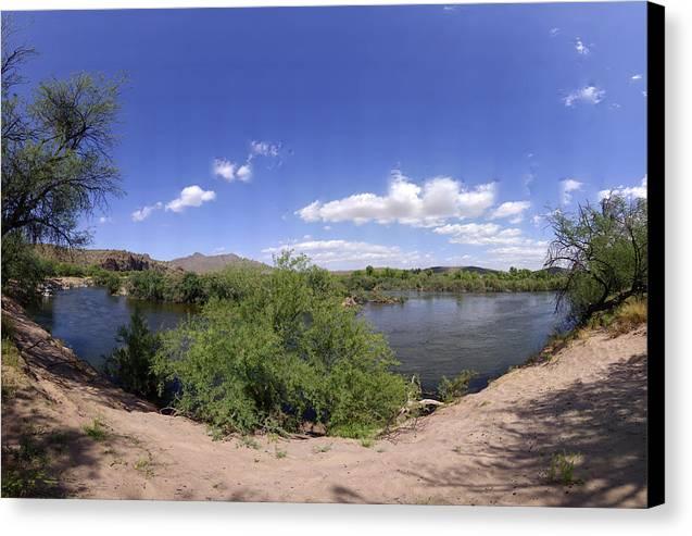 Desert Canvas Print featuring the photograph Coons Bluff Salt River Arizona by Brian Lockett