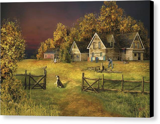 Country Landscape Canvas Print featuring the digital art Countryliving by Russell Cleversley