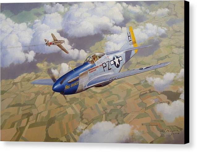 Aviation Art Canvas Print featuring the painting High-stakes Gamble by Steven Heyen
