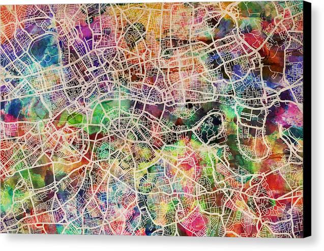 London Canvas Print featuring the digital art London Map Art Watercolor by Michael Tompsett