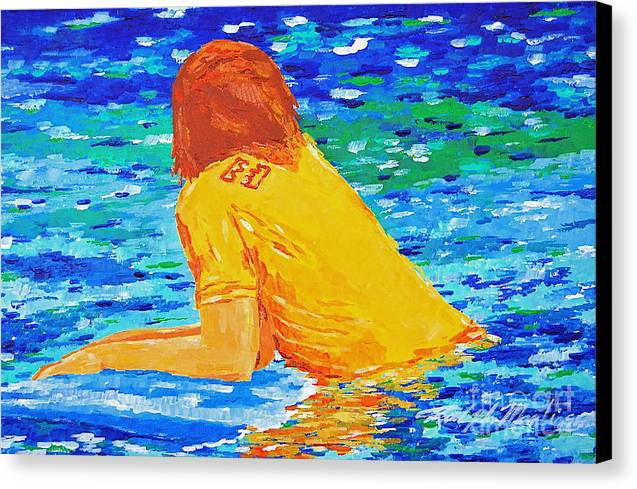 Beach Art Canvas Print featuring the painting One With The Sea by Art Mantia
