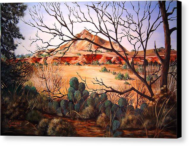 Palo Duro Canyon Canvas Print featuring the painting Palo Duro Canyon by Cynara Shelton