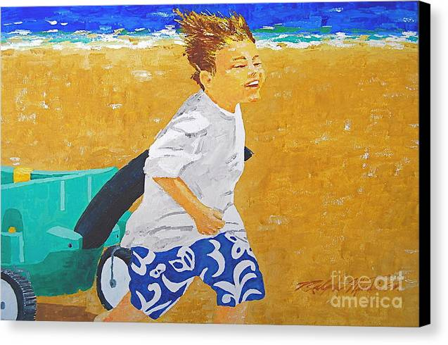 Children Canvas Print featuring the painting Running Against The Wind by Art Mantia