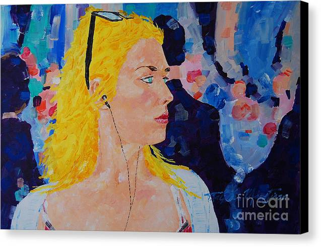 Portraiture Canvas Print featuring the painting Sarah Dont Turn Away by Art Mantia